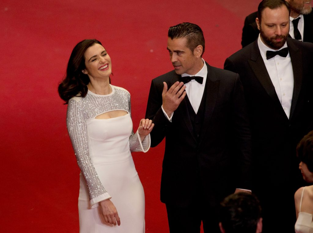 Colin Farrell with Rachel Weisz at The Lobster premiere