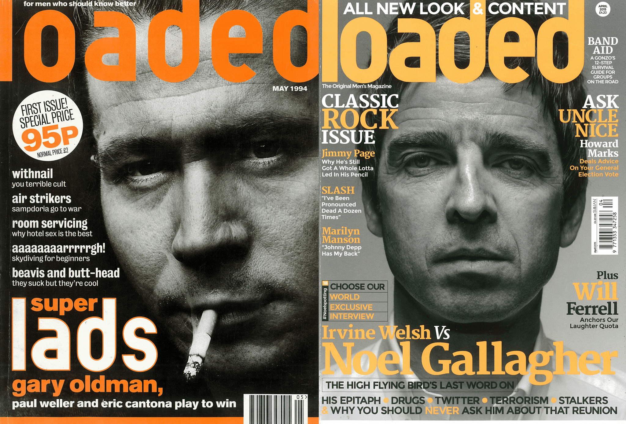 Gary Oldman and Noel Gallagher on the cover of the first and last Loaded magazine covers