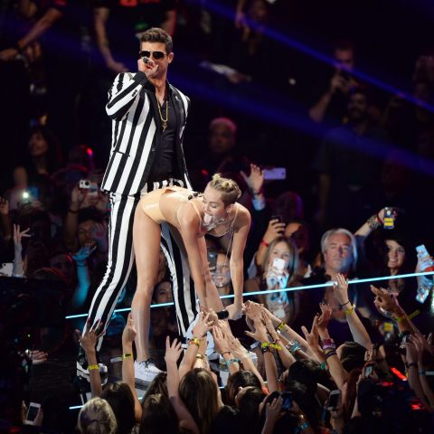 Miley Cyrus grinds against Robin Thicke in 2013
