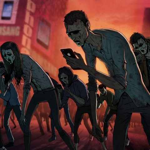 Steve Cutts' illustration The Texting Dead of social media zombies