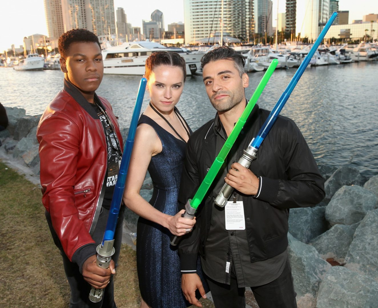 Daisy Ridley with John Boyega and Oscar Isaac