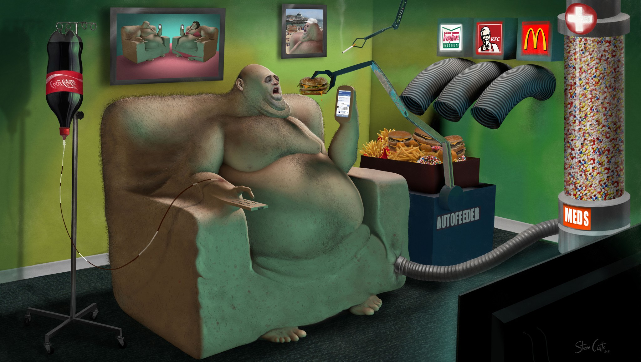 Evolution Steve Cutts illustration Loaded