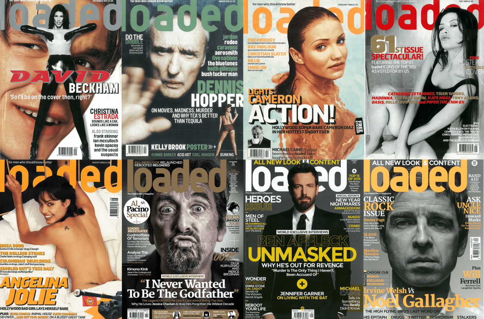 A selection of Loaded magazine's finest covers