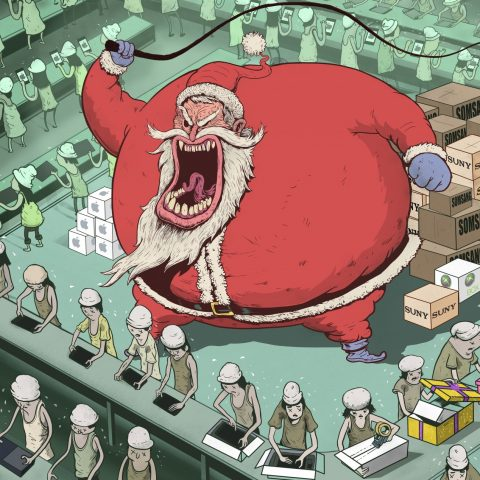 Steve Cutts' illustration of a savage Santa