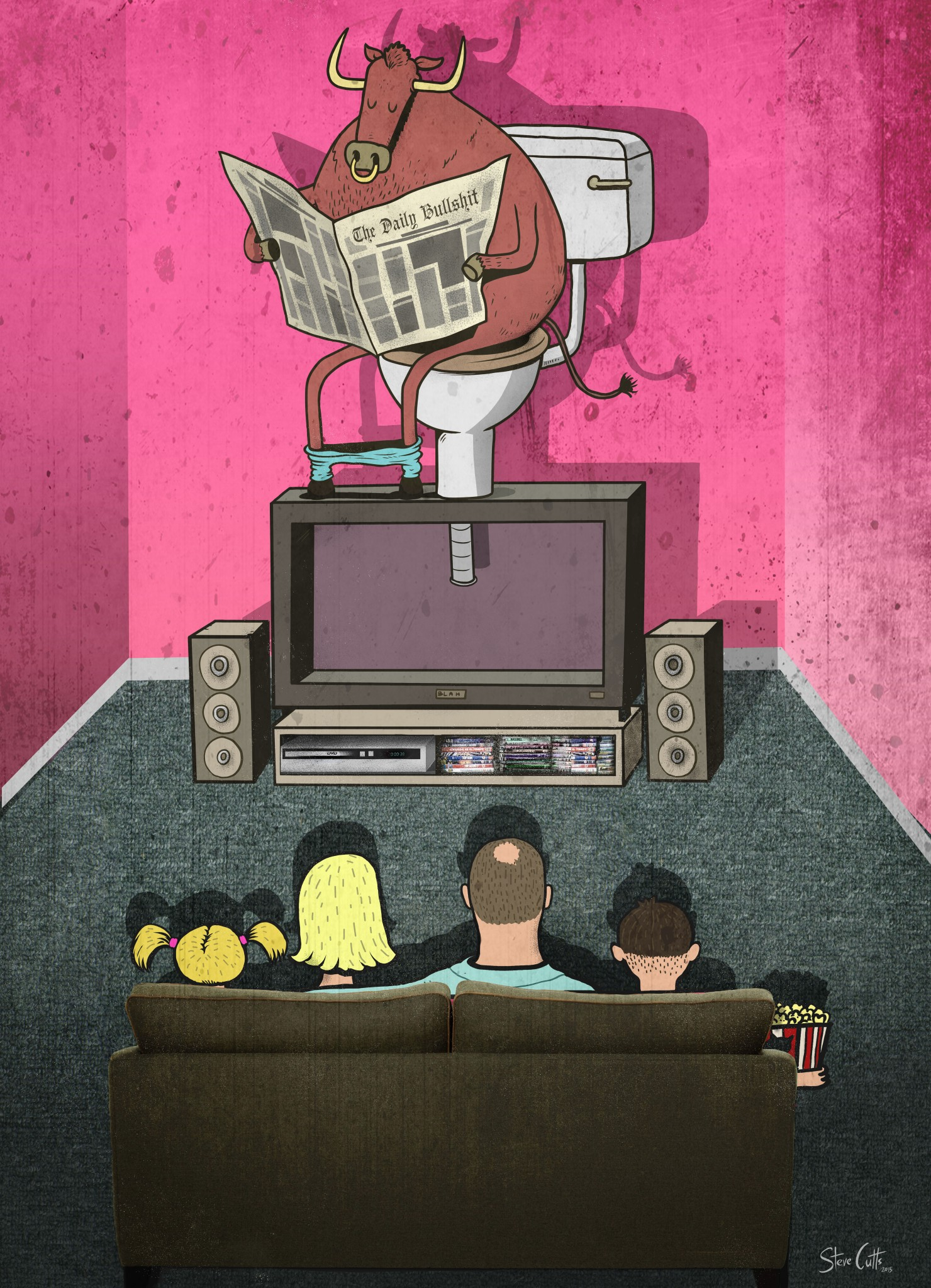 Steve Cutts Bulls*it illustration