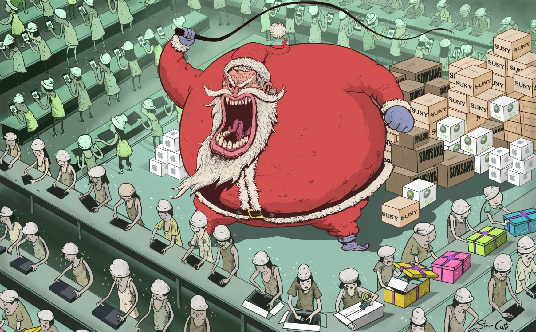 Steve Cutts' Santa illustration