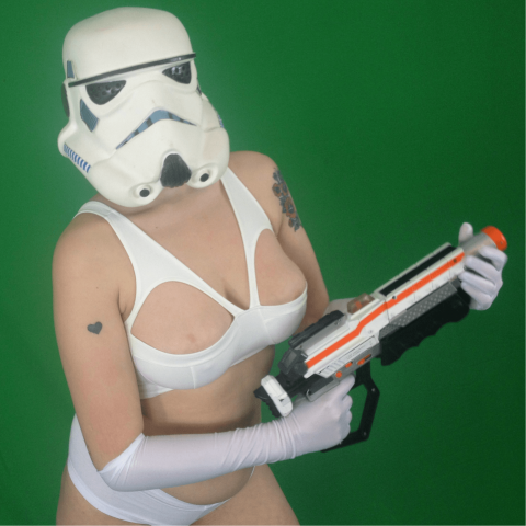 Stormtrooper in the video for Steve Ludwin's Star Wars Times Loaded