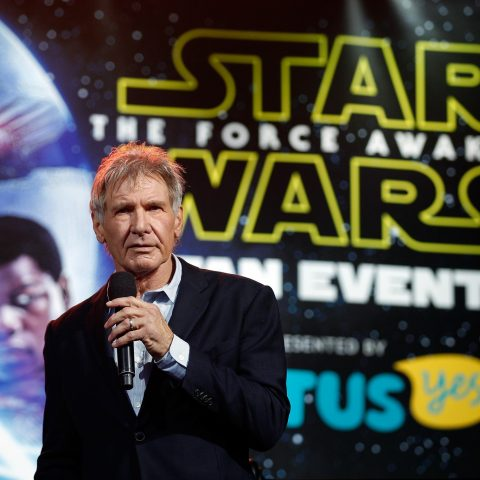 Harrison Ford at a launch even for Star Wars: The Force Awakens