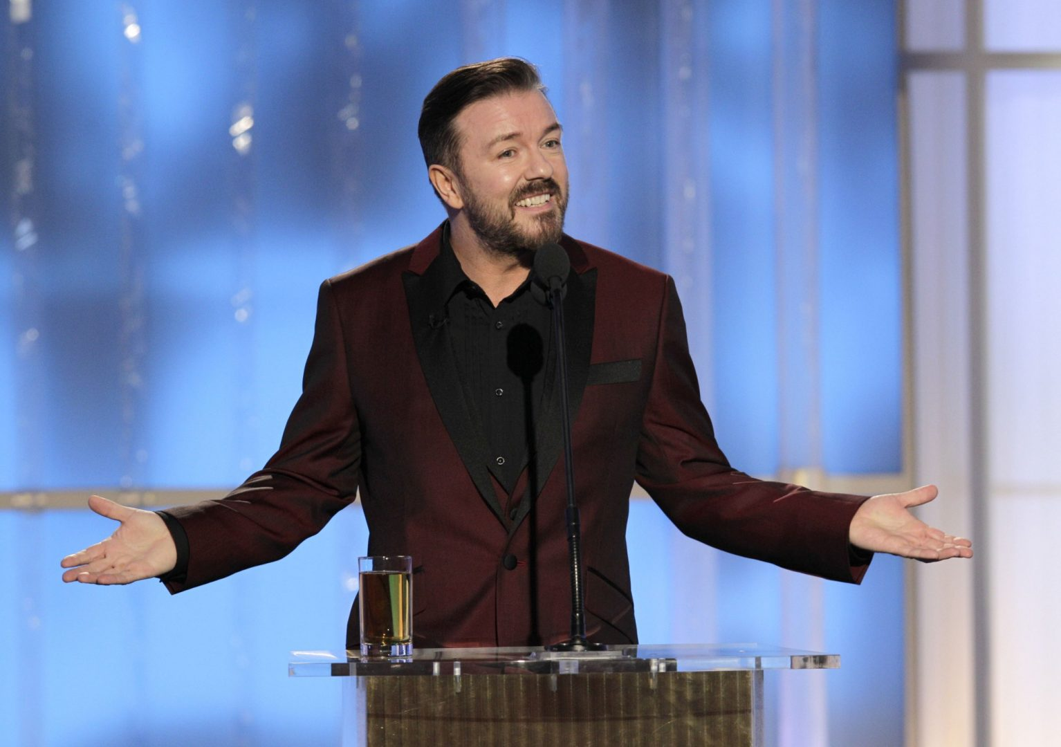 Ricky Gervais presenting at the Golden Globes in 2012