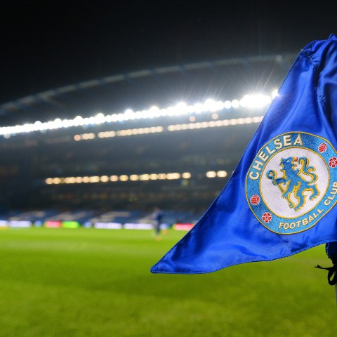 The Chelsea badge on display at their Stamford Bridge ground