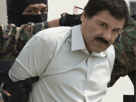 Drug lord El Chapo Guzman pictured being captured back in 2014.