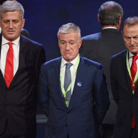 Didier Deschamps representing France at the draw for Euro 2016.