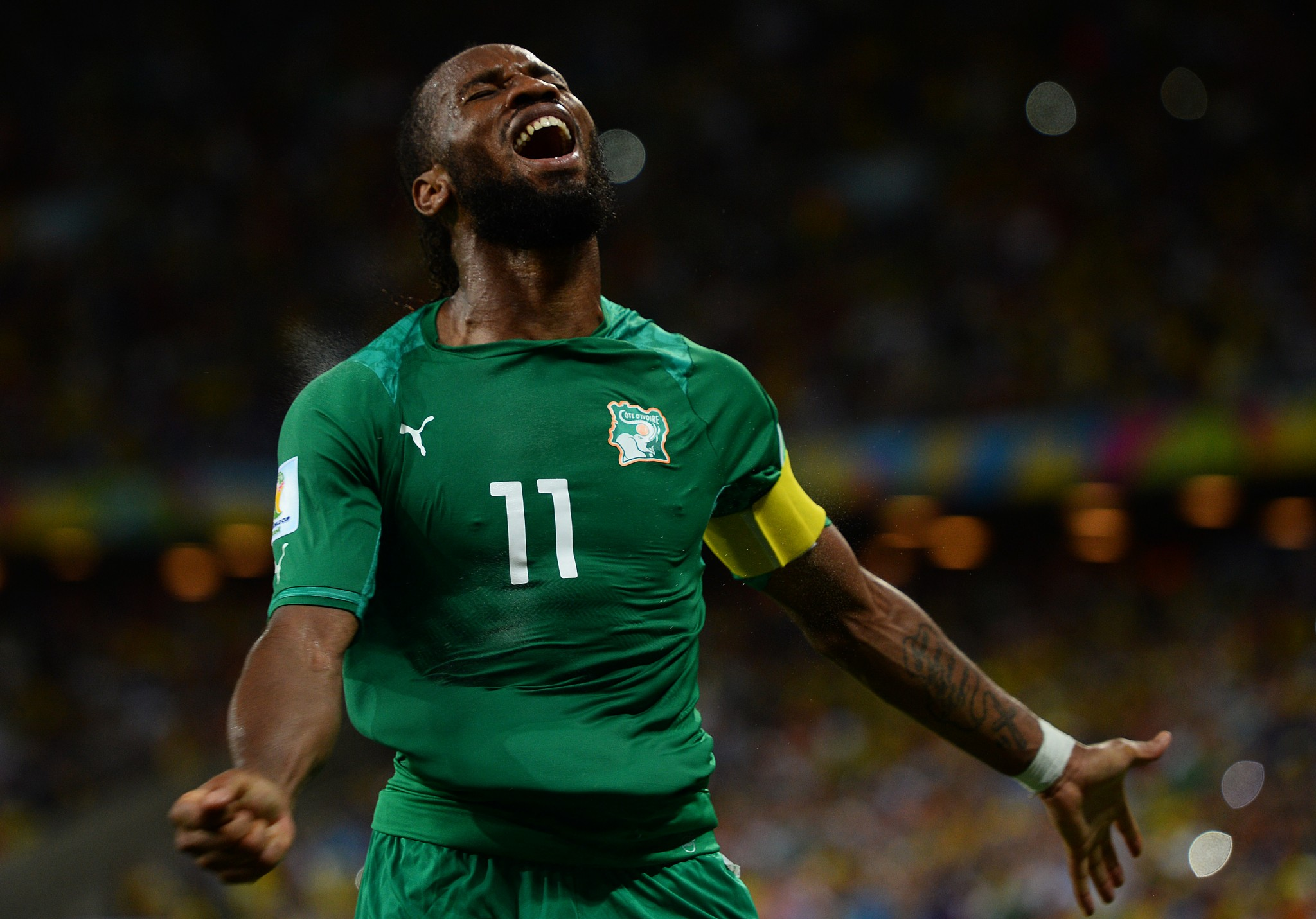 Didier Drogba playing for Ivory Coast