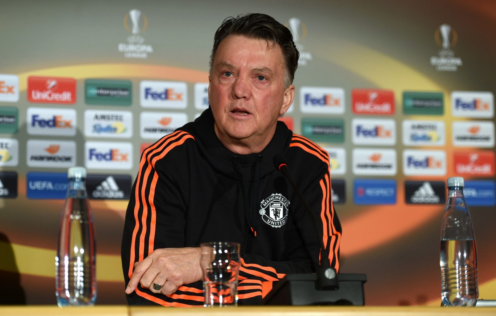 Louis van Gaal in a Manchester United press conference ahead of their latest Europa League fixture.