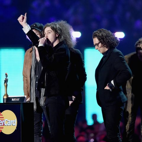 Catfish And The Bottlemen celebrate their Breakthrough prize at the Brits