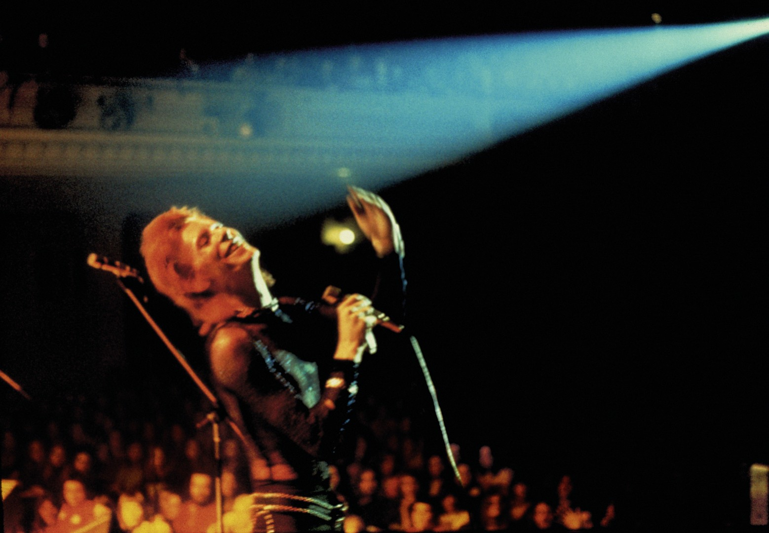 David Bowie on stage in Bournemouth during the Ziggy Stardust tour
