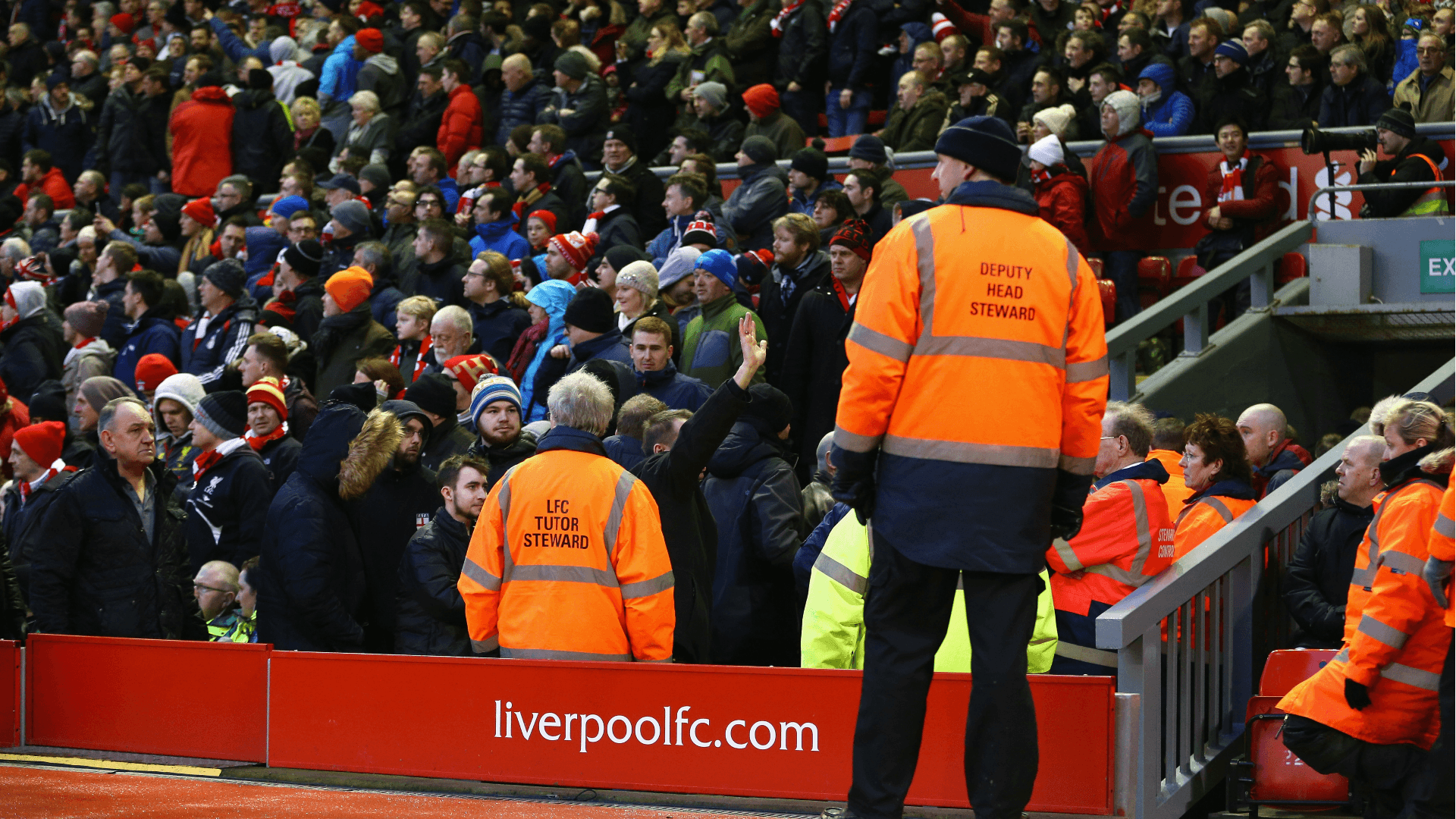 Liverpool fans walkout in protest