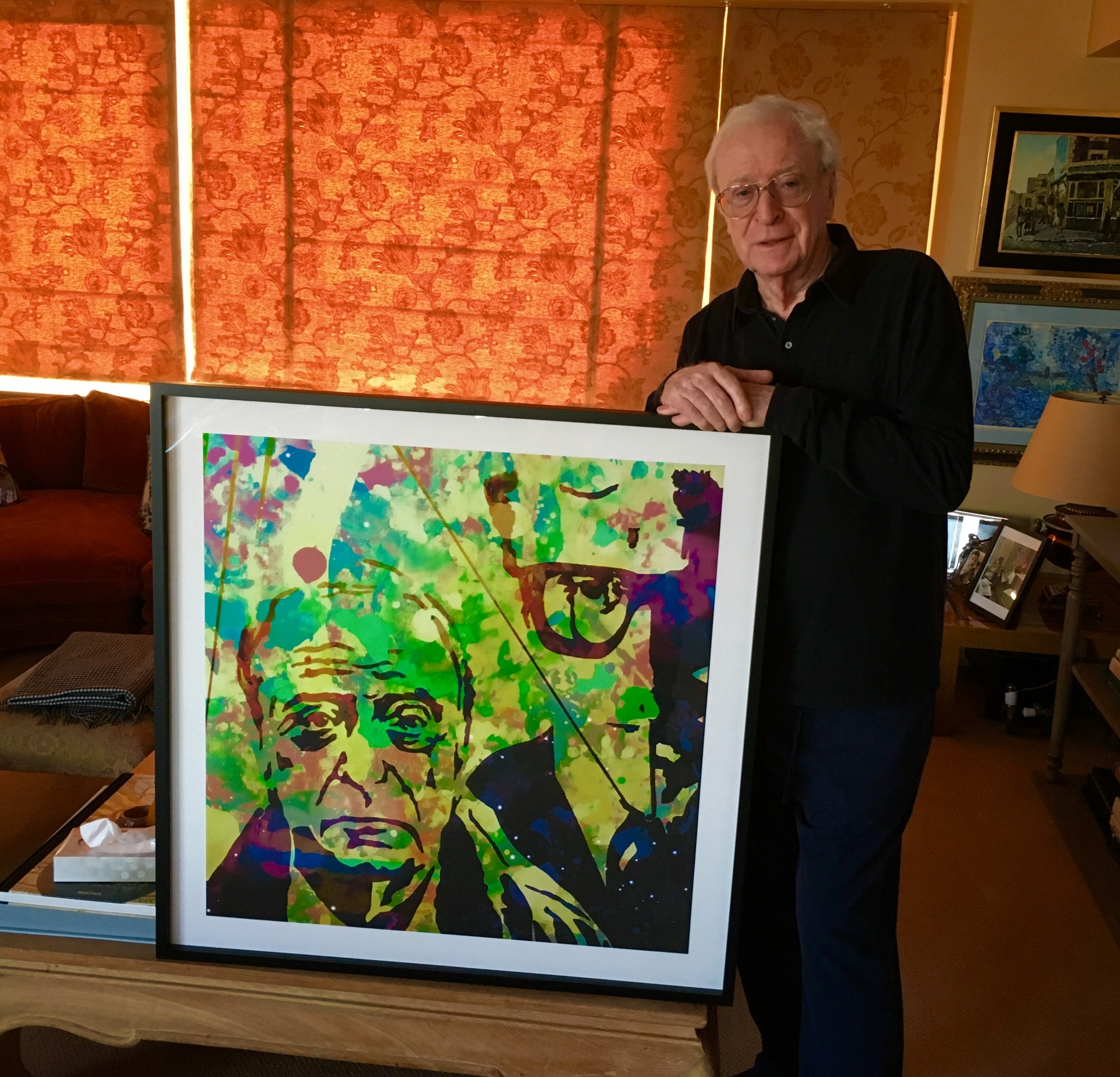 Michael Caine with his Lincoln Townley portrait