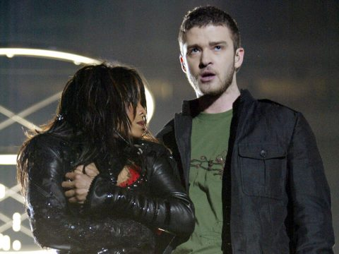 Janet Jackson and Justin Timberlake perform during Super Bowl XXXVIII
