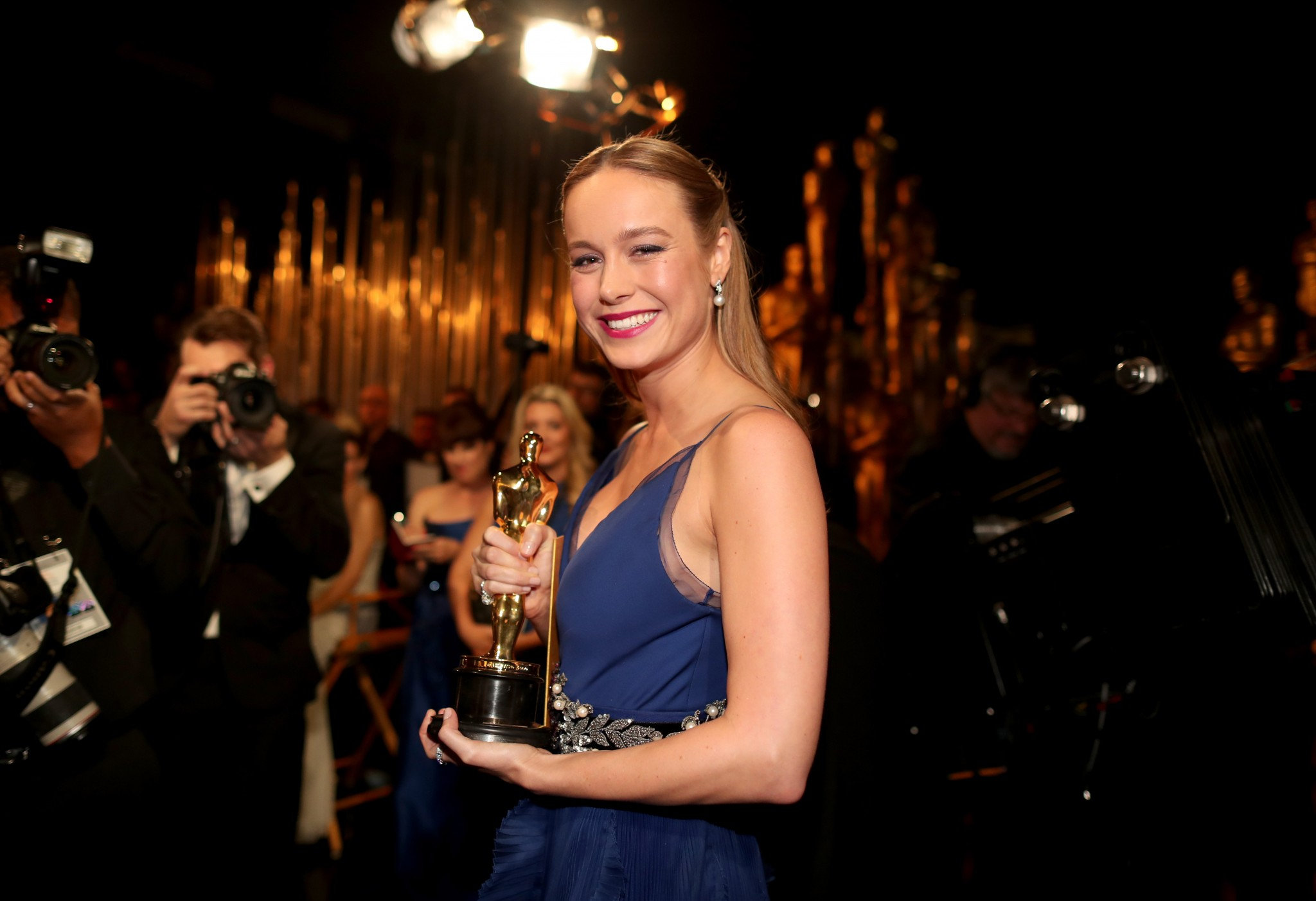 Brie Larson backstage at the Oscars.