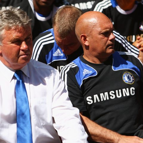 Chelsea manager Guus Hiddink with Ray Wilkins