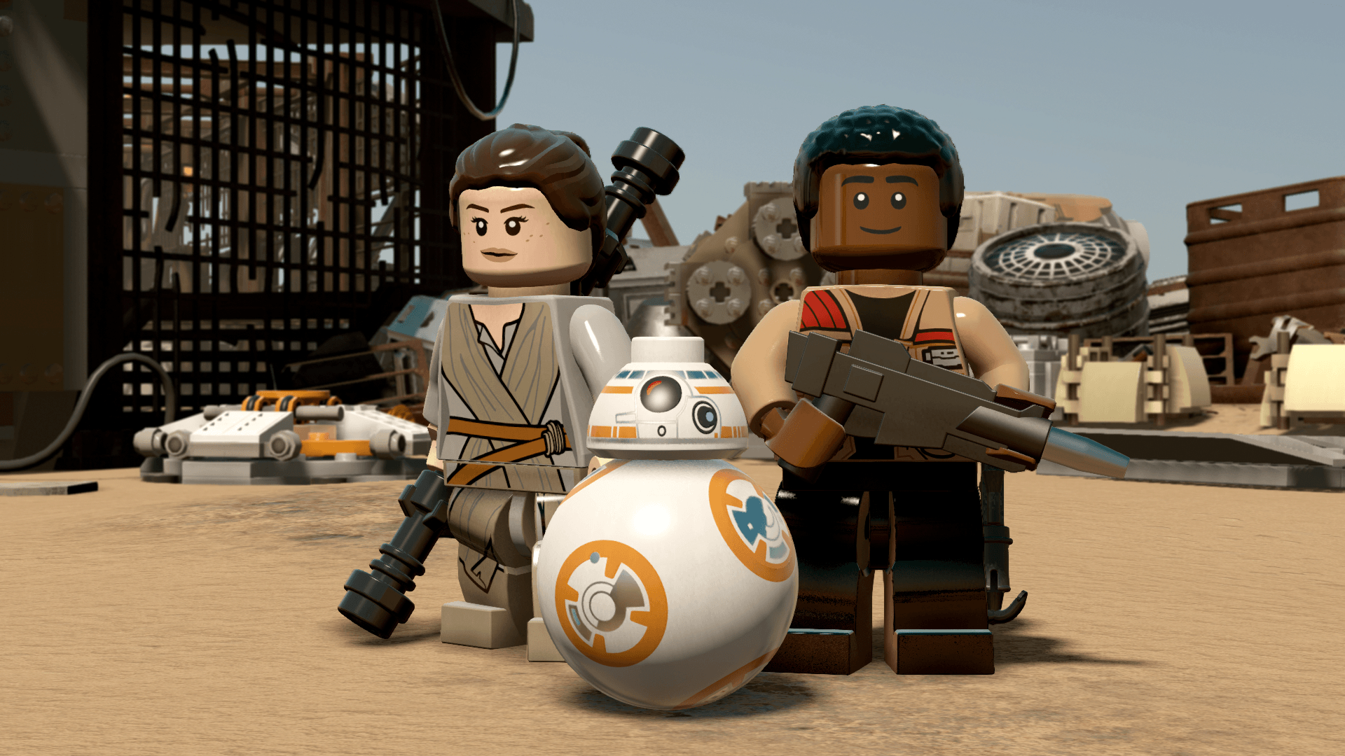 Rey together with Finn and DB8 in Lego form