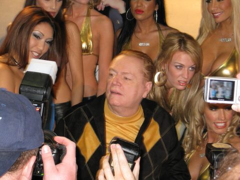 Larry Flynt posing for pictures.