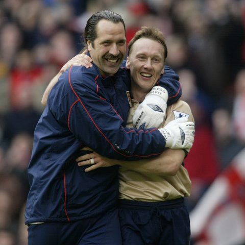 David Seaman and Lee Dixon celebrate an Arsenal win over Middlesbrough in 2002