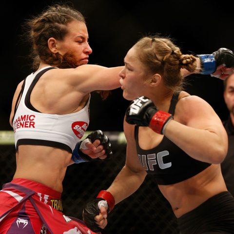 Ronda Rousey and Miesha Tate at their second UFC fight in 2013
