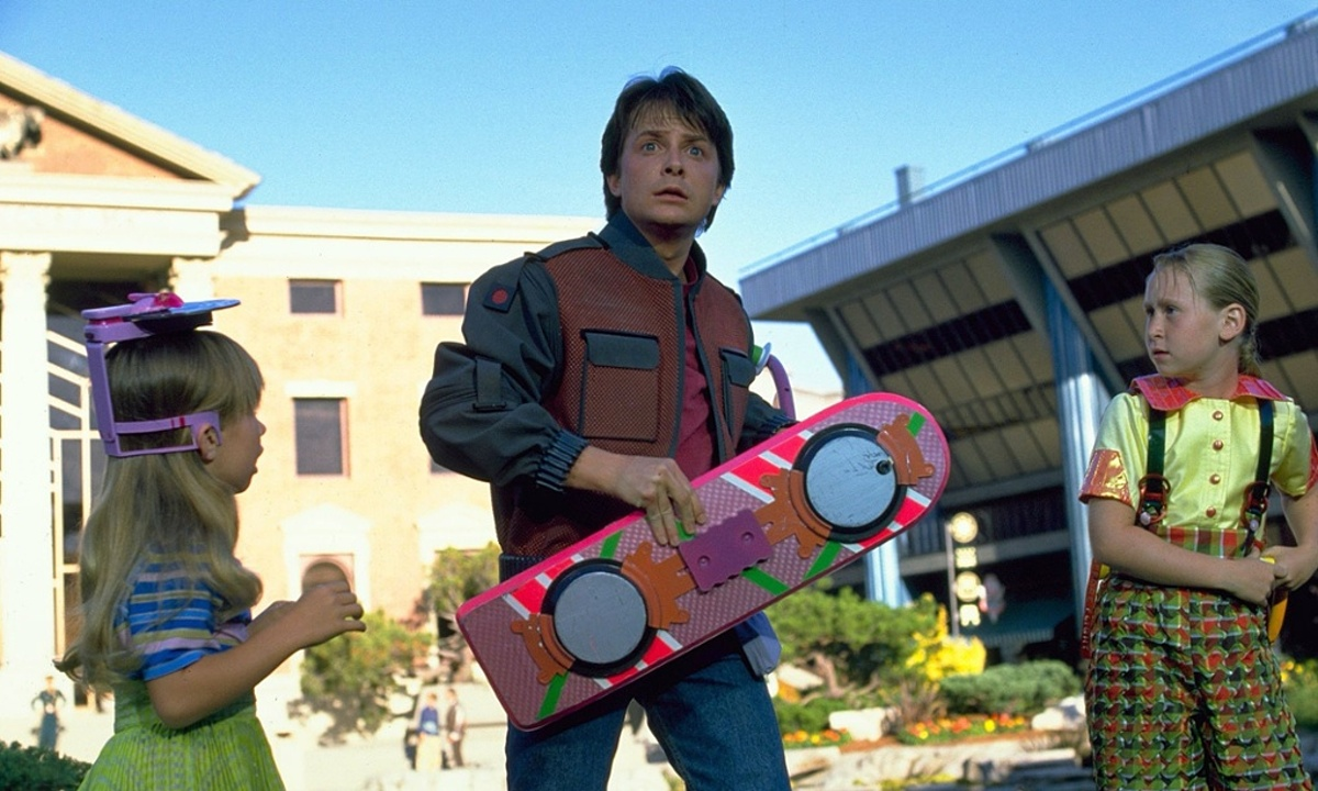Marty McFly from Back to the Future Part II with a hoverboard.