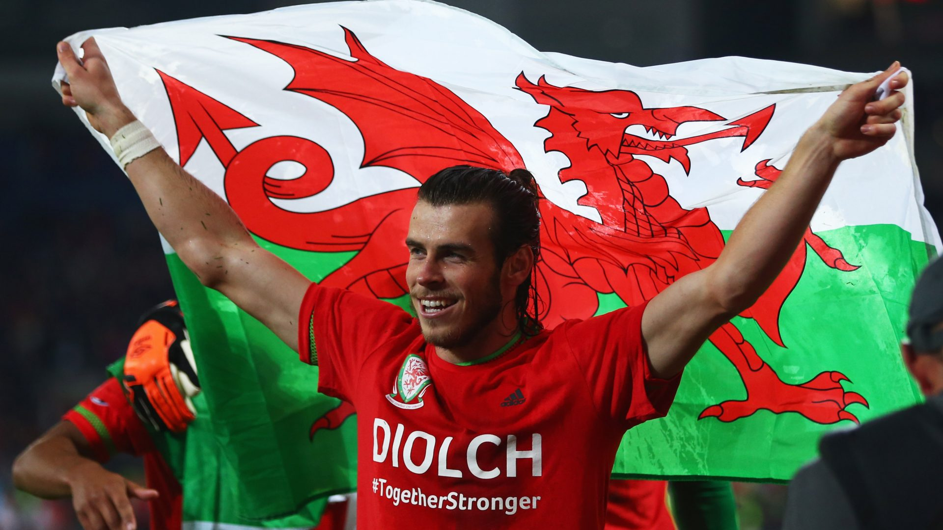 Gareth Bale celebrates for Wales