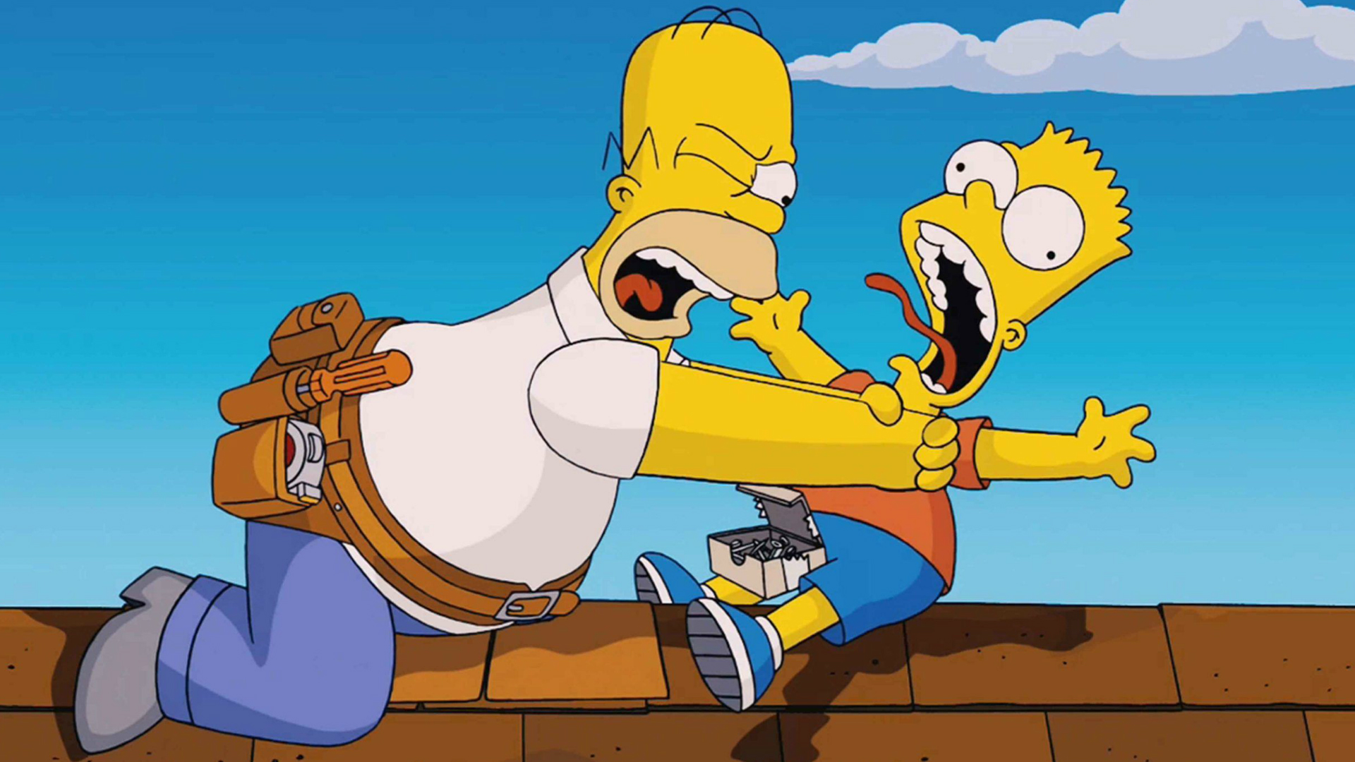 Homer chokes Bart in The Simpsons