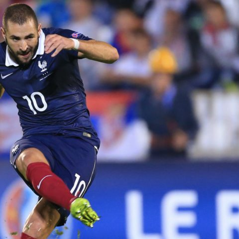 Karim Benzema in action for France