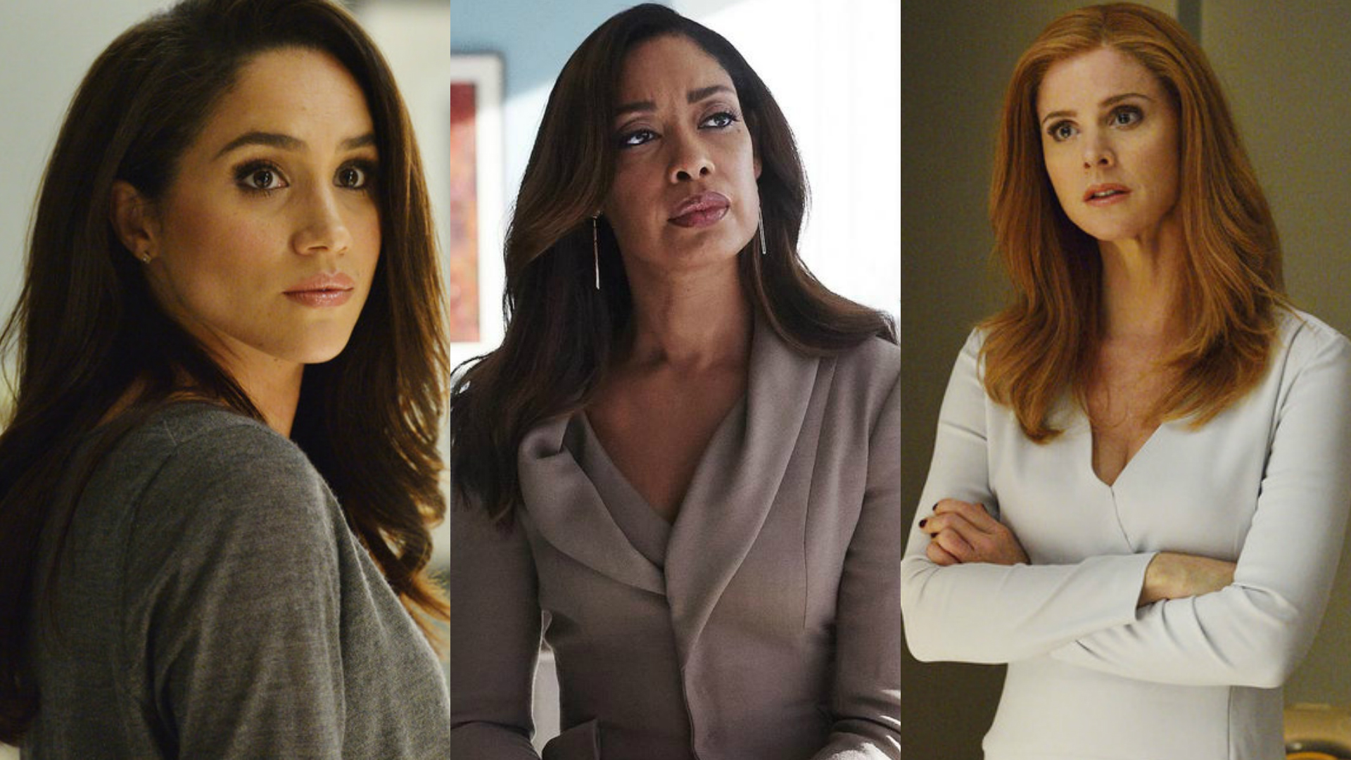 Meghan Markle, Gina Torres and Sarah Rafferty in Suits