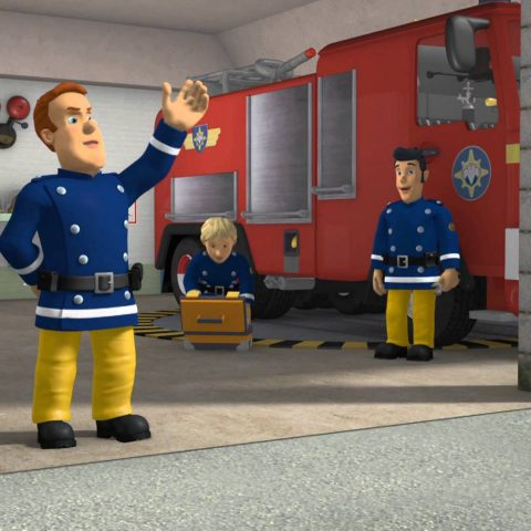 Fireman Sam in his fire station.