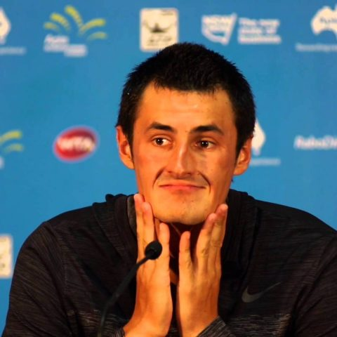 Bernard Tomic looking a bit sheepish.