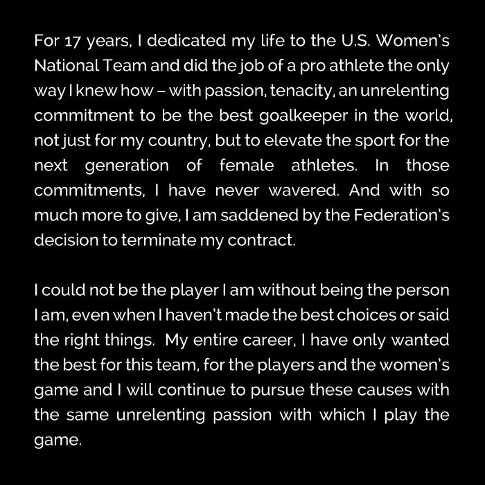 Hope Solo Facebook statement
