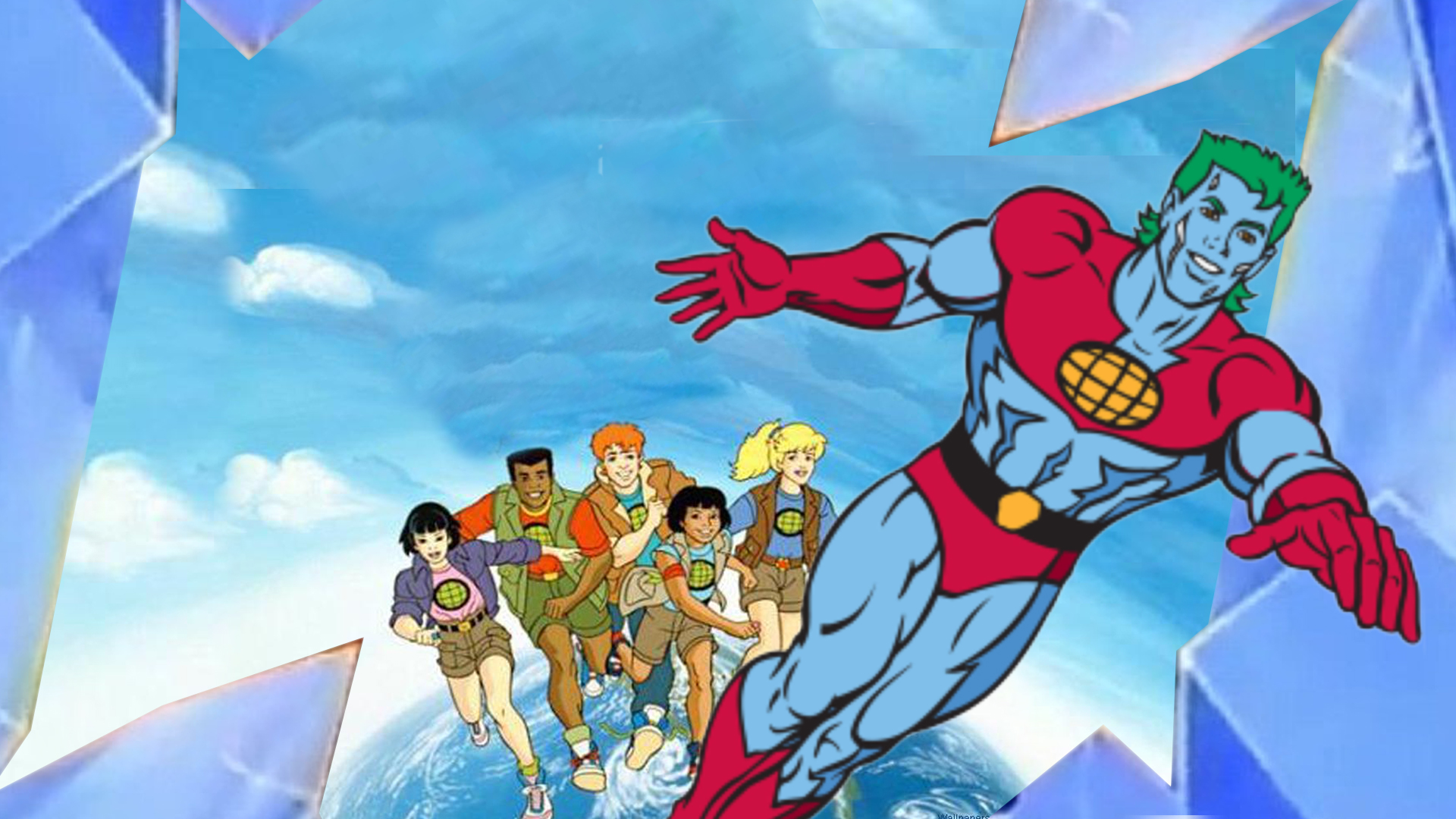 Animated superhero Captain Planet.
