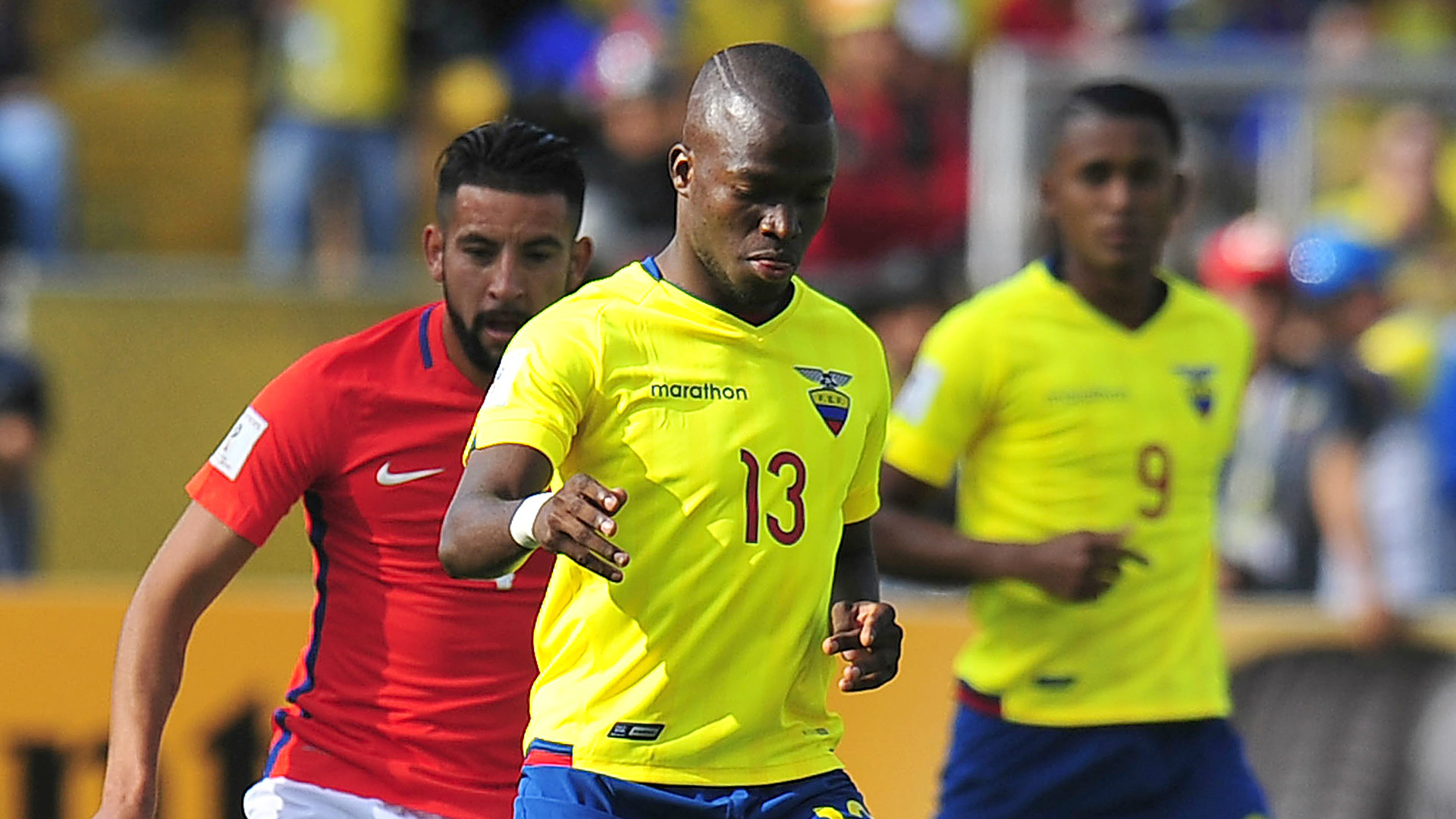 Enner Valencia playing for the Ecuador national team.