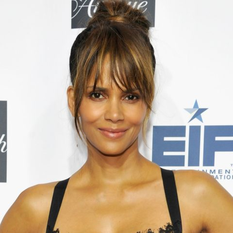 Halle Berry wearing a black corset on the red carpet.