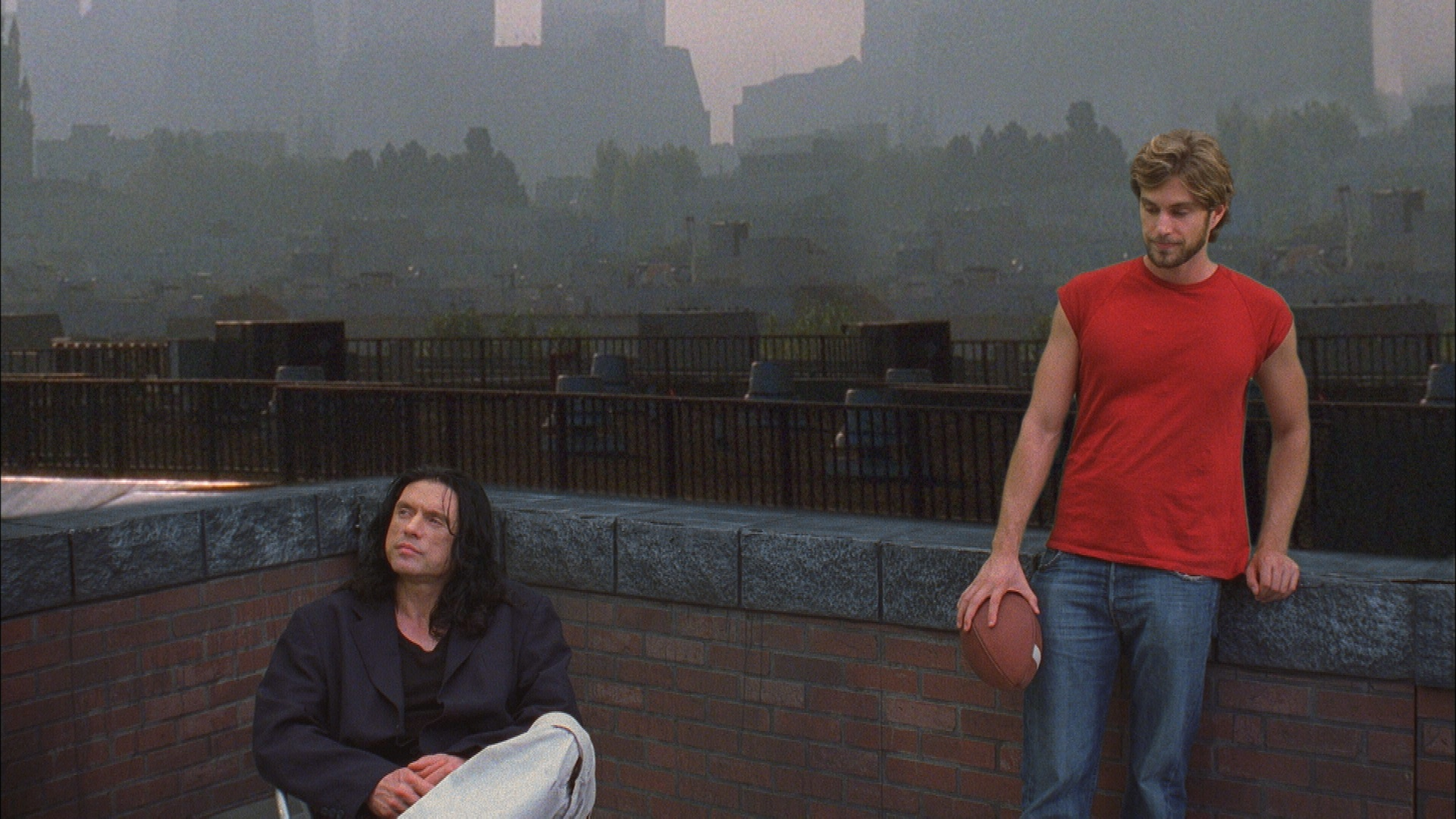 Tommy Wiseau and Greg Sestero on the set of The Room.