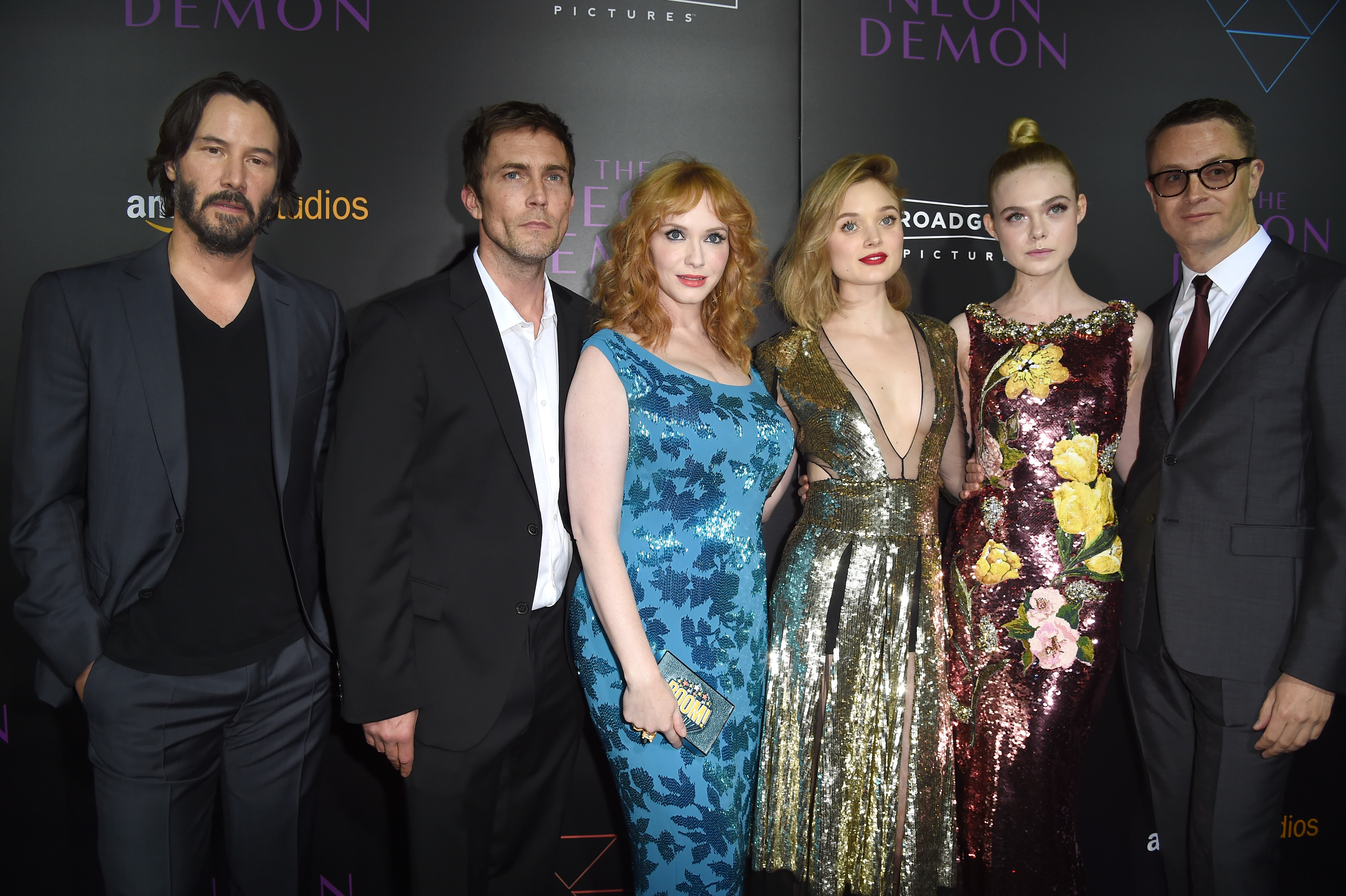 Keanu Reeves and the Neon Demon cast