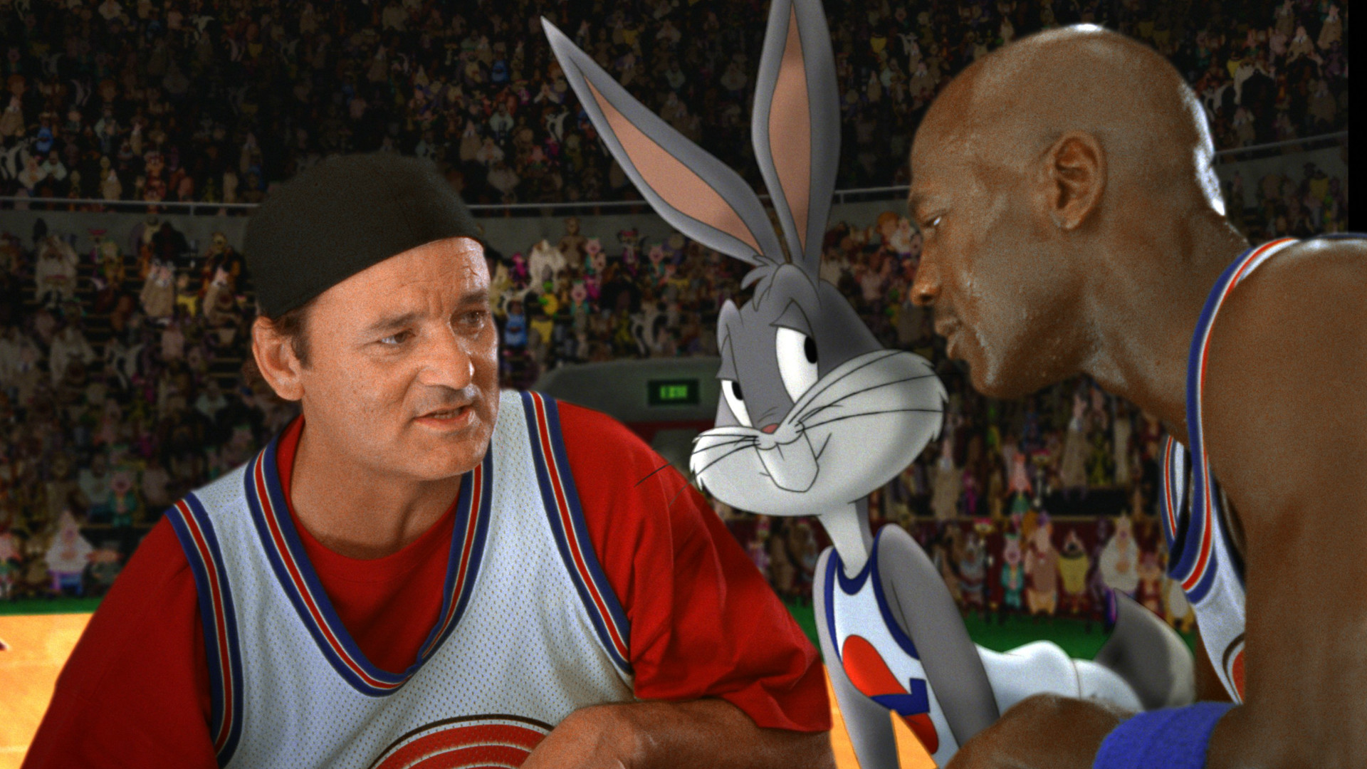 Bill Murray and Michael Jordan in Space Jam.