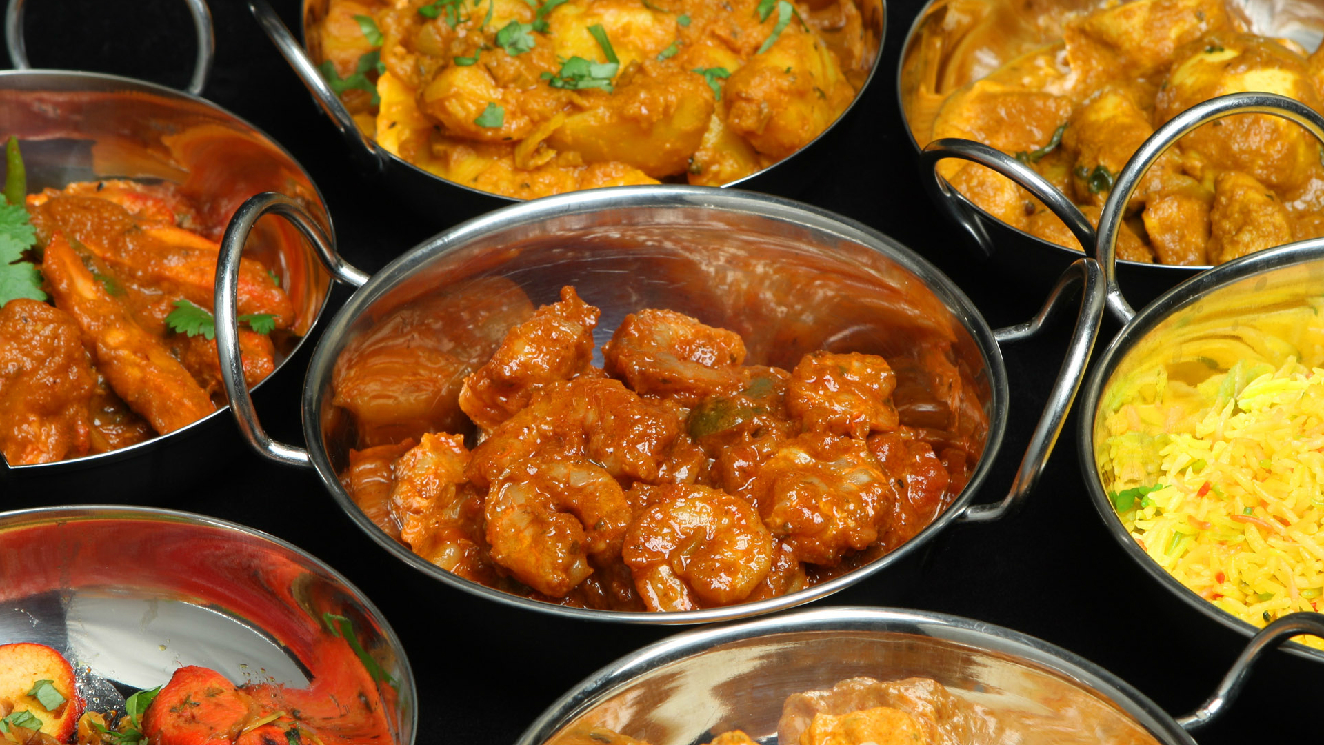 A selection of curry dishes.