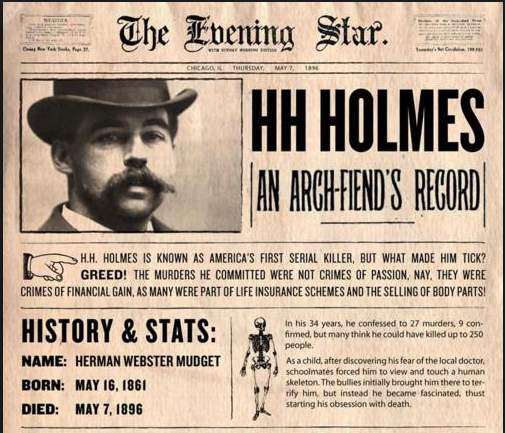 the life of h h holmes americas first serial killer Westmont, il library hh holmes lecture - april 19 join filmmaker john borowski for a viewing of hh holmes: america's first serial killer followed by a lecture by borowski on the making of.