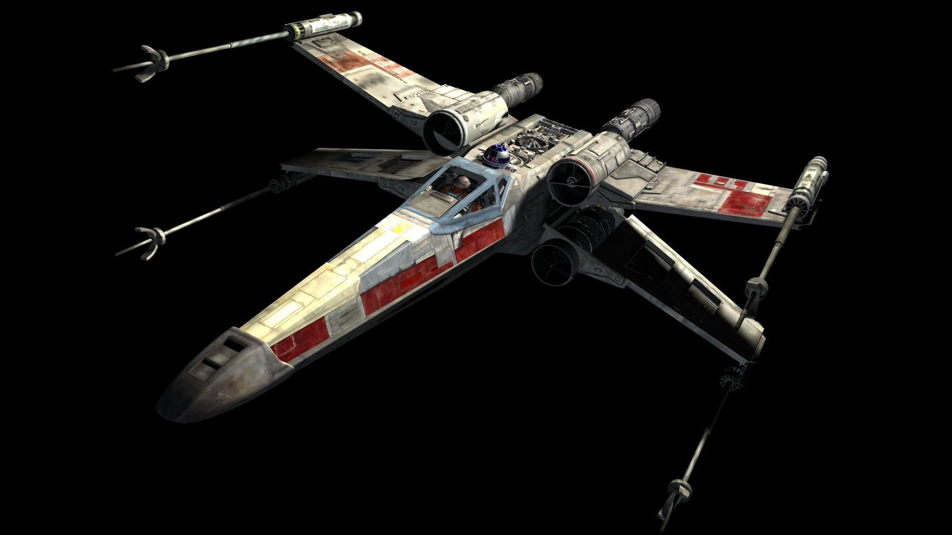 The rebel X Wing fighter.