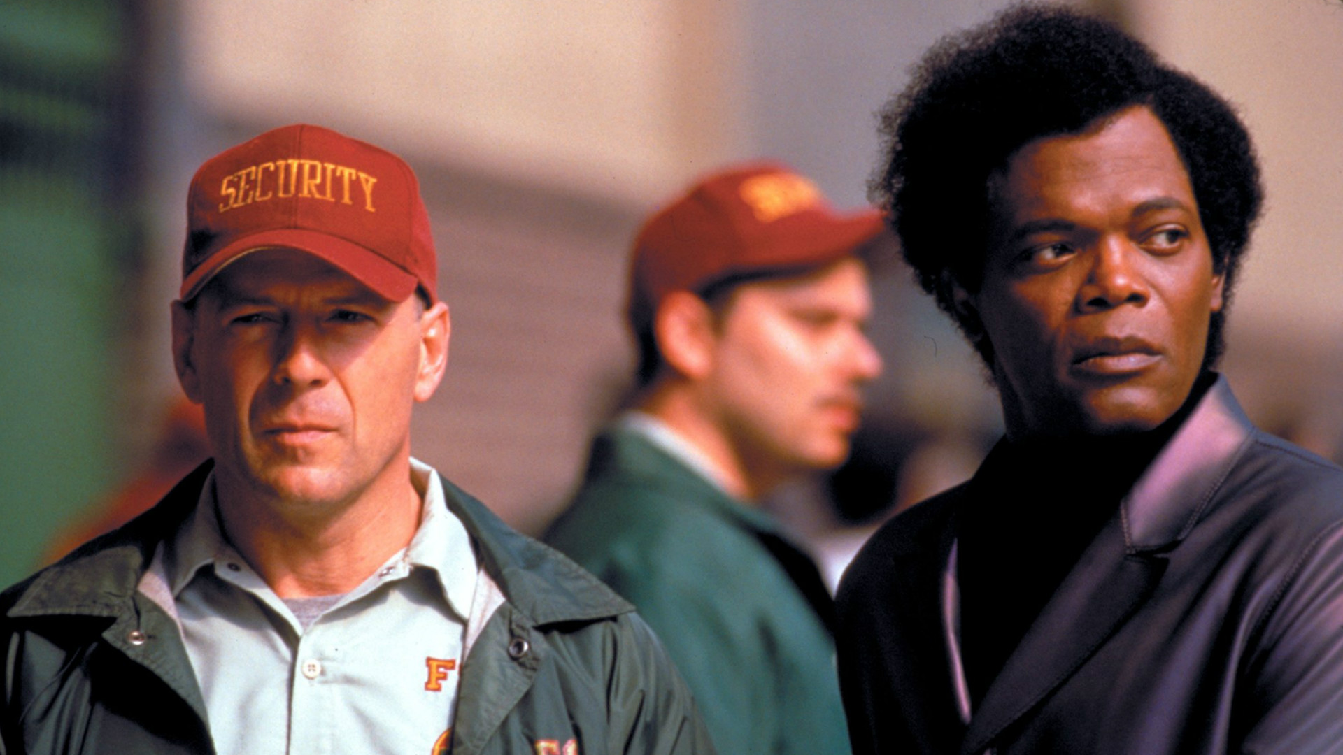 Unbreakable starring Bruce Willis and Samuel L. Jackson.
