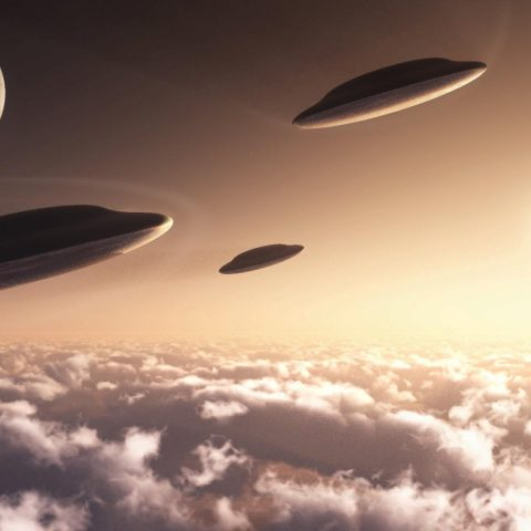 An artist's impression of UFOs.