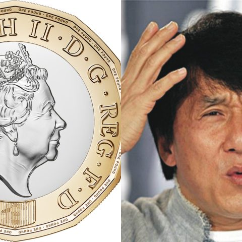 The new pound coin alongside Jackie Chan.