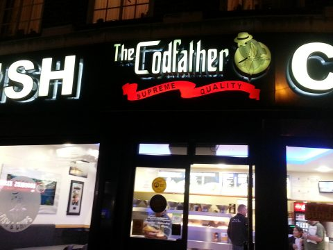 The Codfather shop sign.